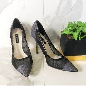 Nine West Black And Silver Glitter Heels NWT